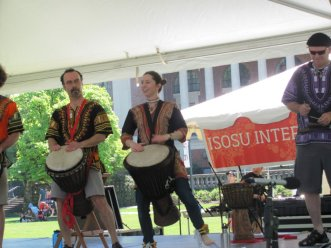Michelle Lovrich playing djembe